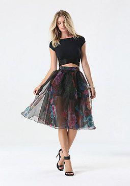 81af5dbfcd bebe Print Organza Midi Skirt | Giselle's style | Midi skirt ...