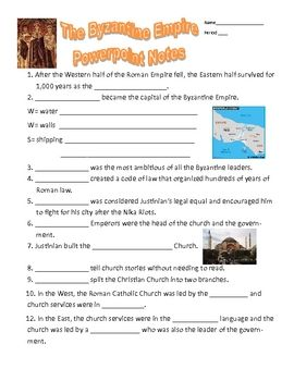 Byzantine Empire PowerPoint Notes Graphic Organizer | Rome ...