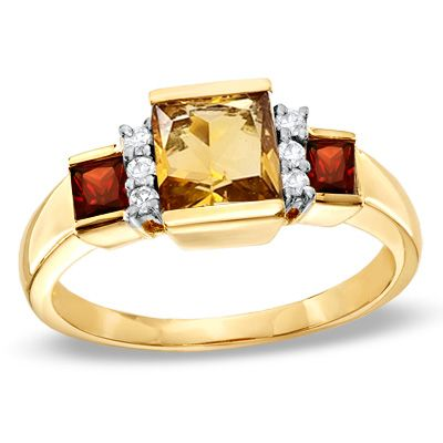 Cute Square Citrine and Garnet Ring in K Gold with Diamond Accents Peoples Jewellers