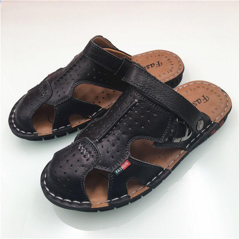 Letnie Oryginalne Skorzane Meskie Klapki Plazowe Sandaly Dla Mezczyzn Plaskie Pantofle Antyposlizgowe Sznurowadla Zewnetrzne But Zapatos Fisherman Sandal Shoes