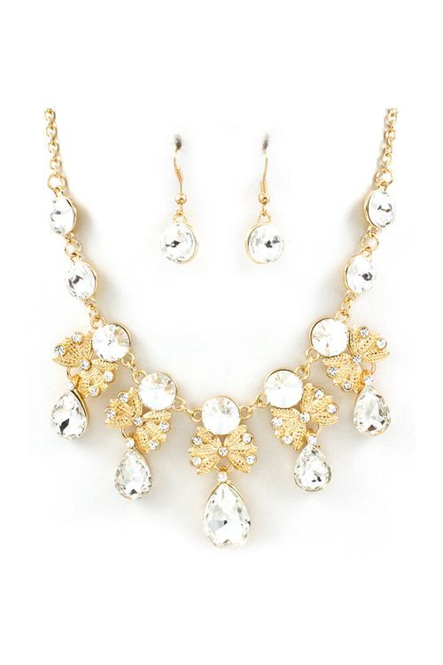 unique necklace bridal wedding elegant sets jewelry gold for brides crystals set pin