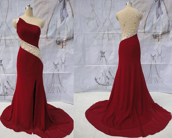 Red evening dress long prom dress dark red by CharmingEssence