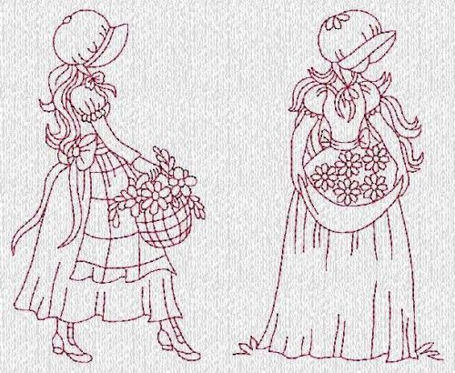 Sunbonnet Ladies Evenings Redwork Machine Embroidery Designs