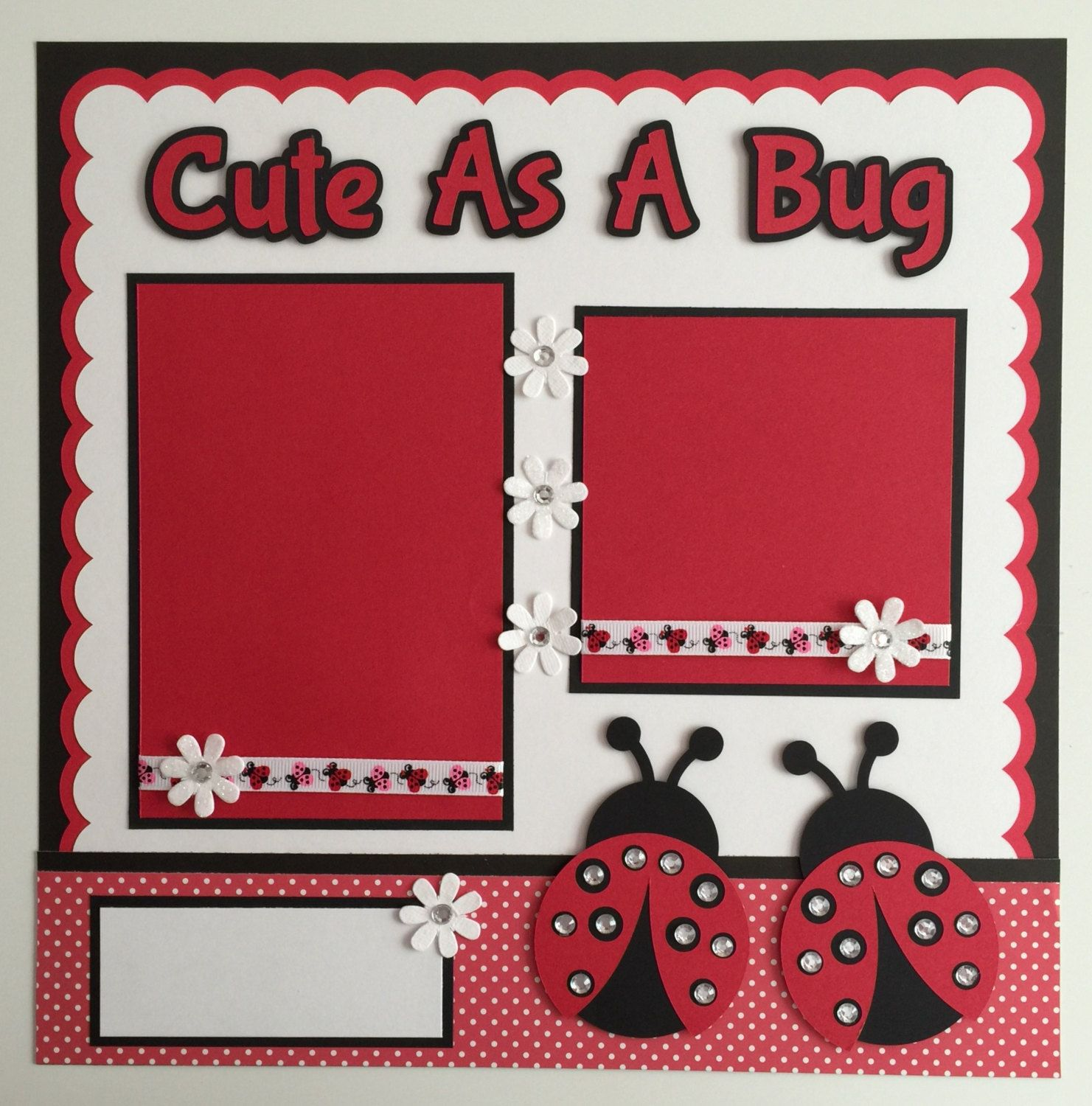 Handmade premade cute as a bug ladybug scrapbook page layout by juliespapercrafts on etsy - Scrapbooking idees pages ...