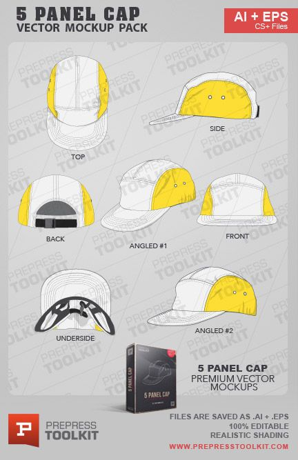 Download Vector Hats And Caps Mega Mockup Pack Prepress Toolkit Panel Hat Mockup Template Hat Template