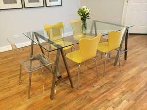 $200 for 4 - yellow chairs - chicago furniture classifieds ...