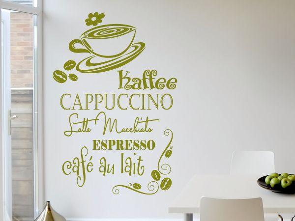Wandaufkleber Kaffee, Cappuccino, Latte Macchiato, Espresso, Café - wandtattoos küche kaffee