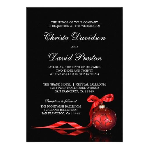 elegant red christmas wedding invitations template in 2018