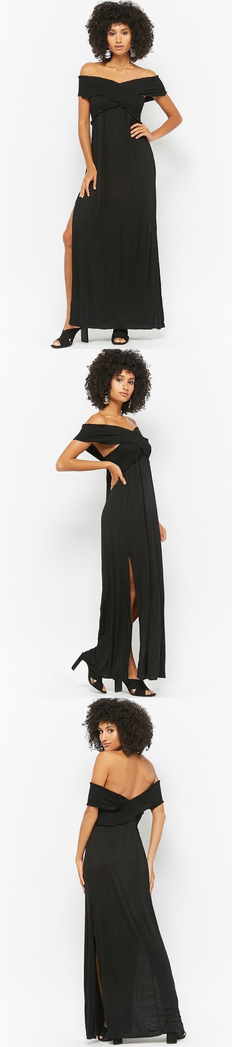 Smocked offtheshoulder maxi dress usd forever new