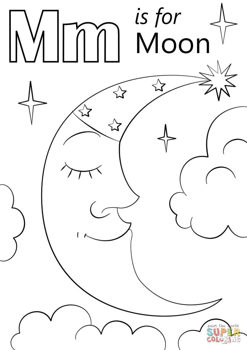 38 Coloring Page Letter M Moon Coloring Pages Preschool Coloring Pages Abc Coloring Pages