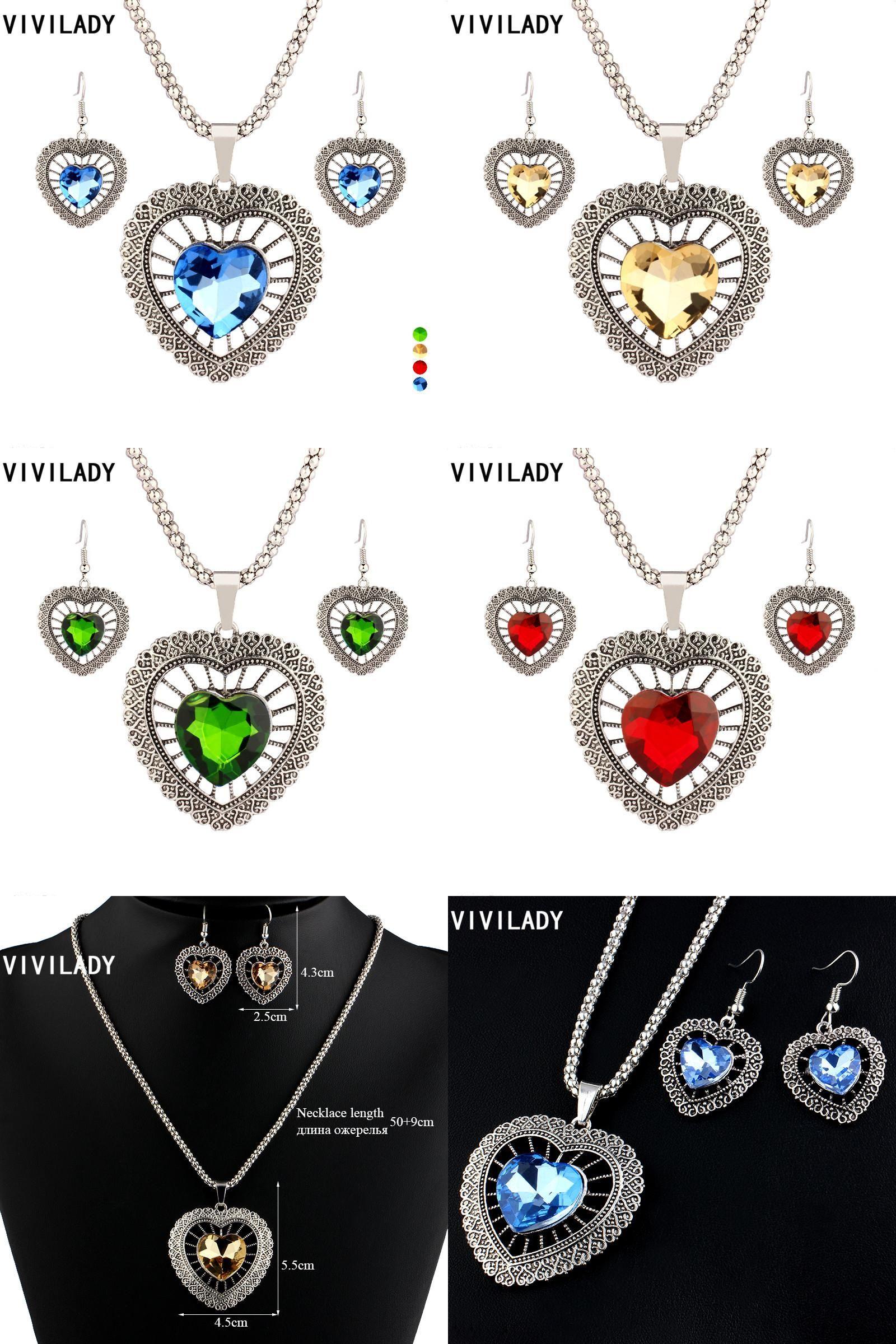Visit to Buy] VIVILADY Trendy Heart Crystal Wedding Bridal Jewelry