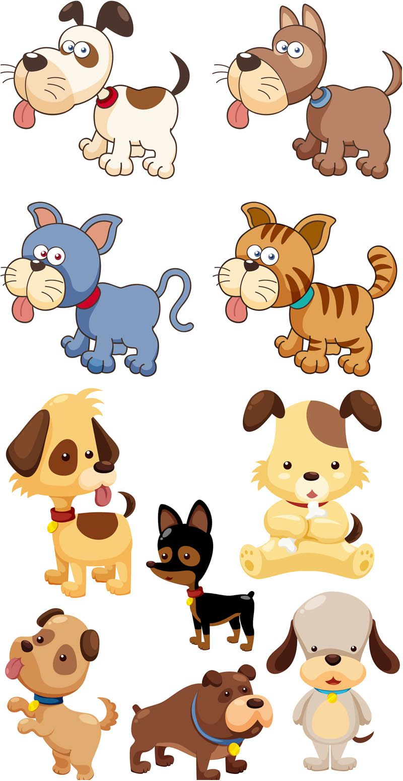 Cute dogs and cats. Funny cartoon and vector animal characters ...
