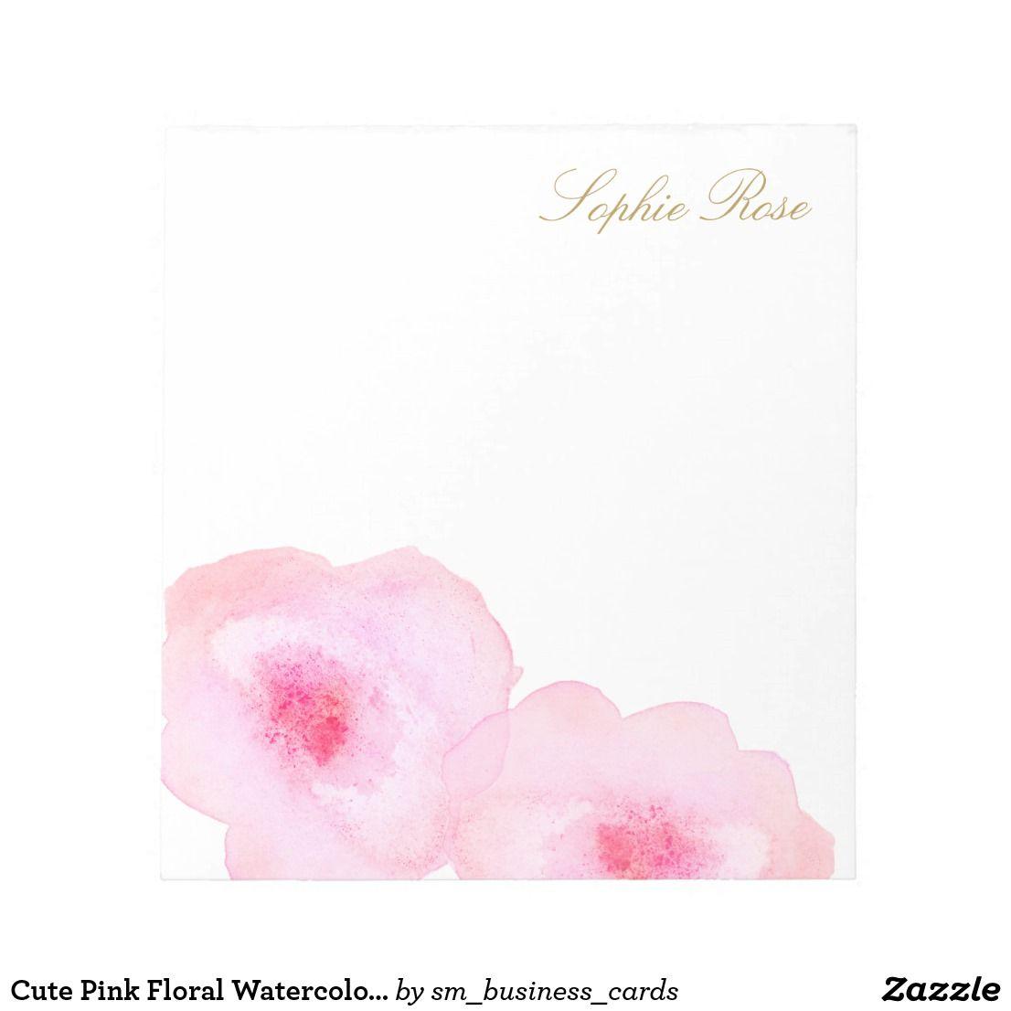 Cute Pink Floral Watercolor Flower Notepad Zazzle Com