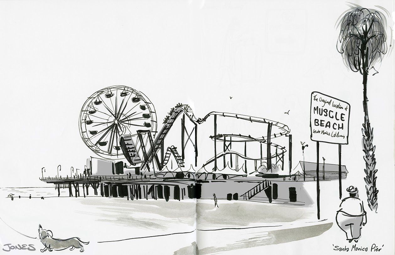 Image Result For Santa Monica Pier Drawing Drawings Hand Drawn