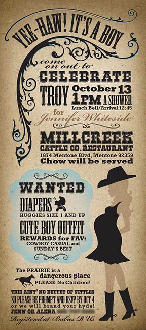 Western Baby Shower Invite Alena Foust Design Wording Baby