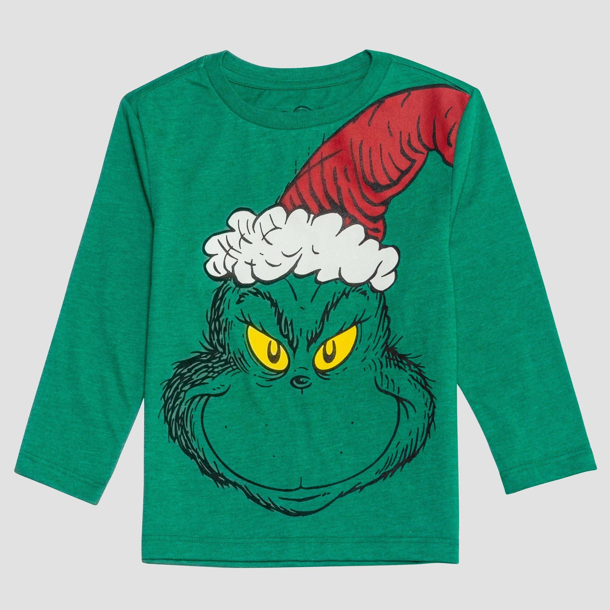 ec76e418ddd Toddler Boys  Dr. Seuss Grinch Long Sleeve T-Shirt - Green 12M ...