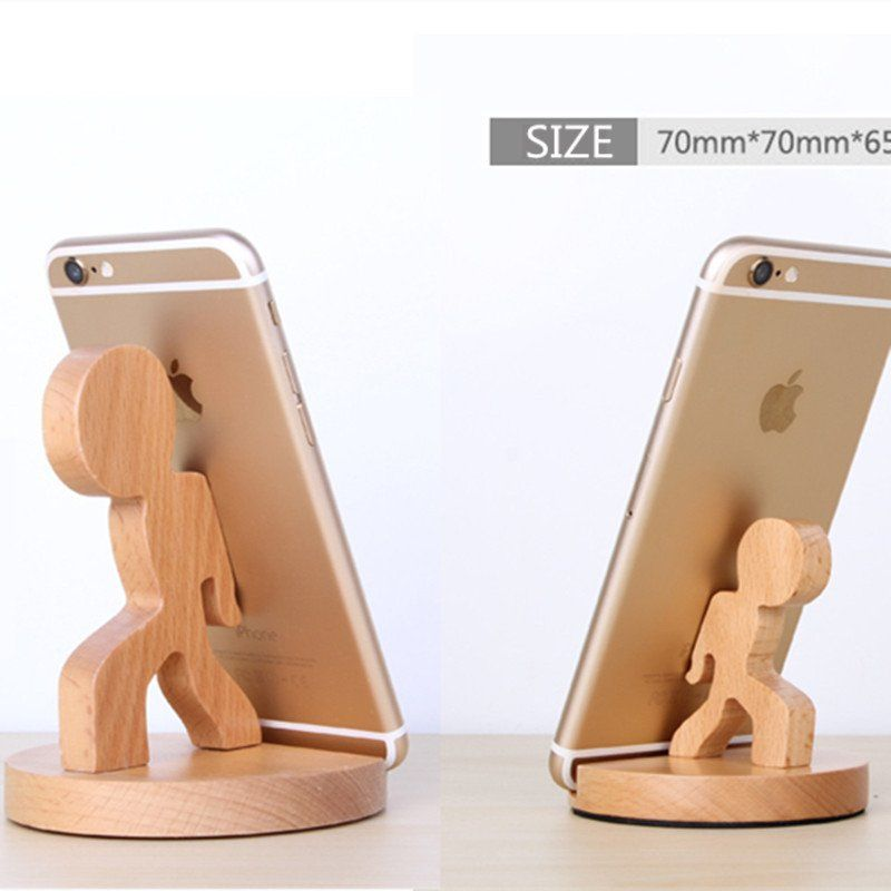 Cute Universal Portable Wooden Phone Stand Holder Mount 4
