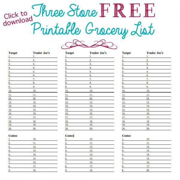 Printable 3-store grocery list - Ask Anna ORGANIZING Pinterest - free printable shopping list template