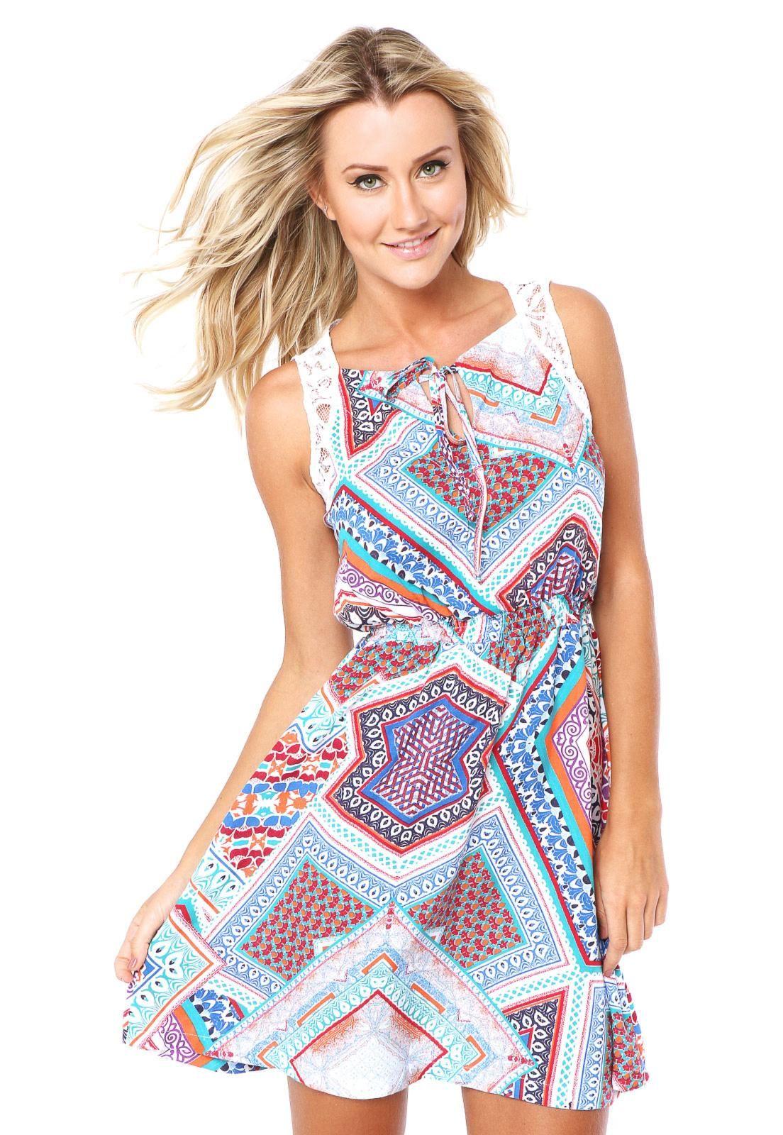 a6a783743 Vestido Mercatto Slim Multicolorido - Compre Agora