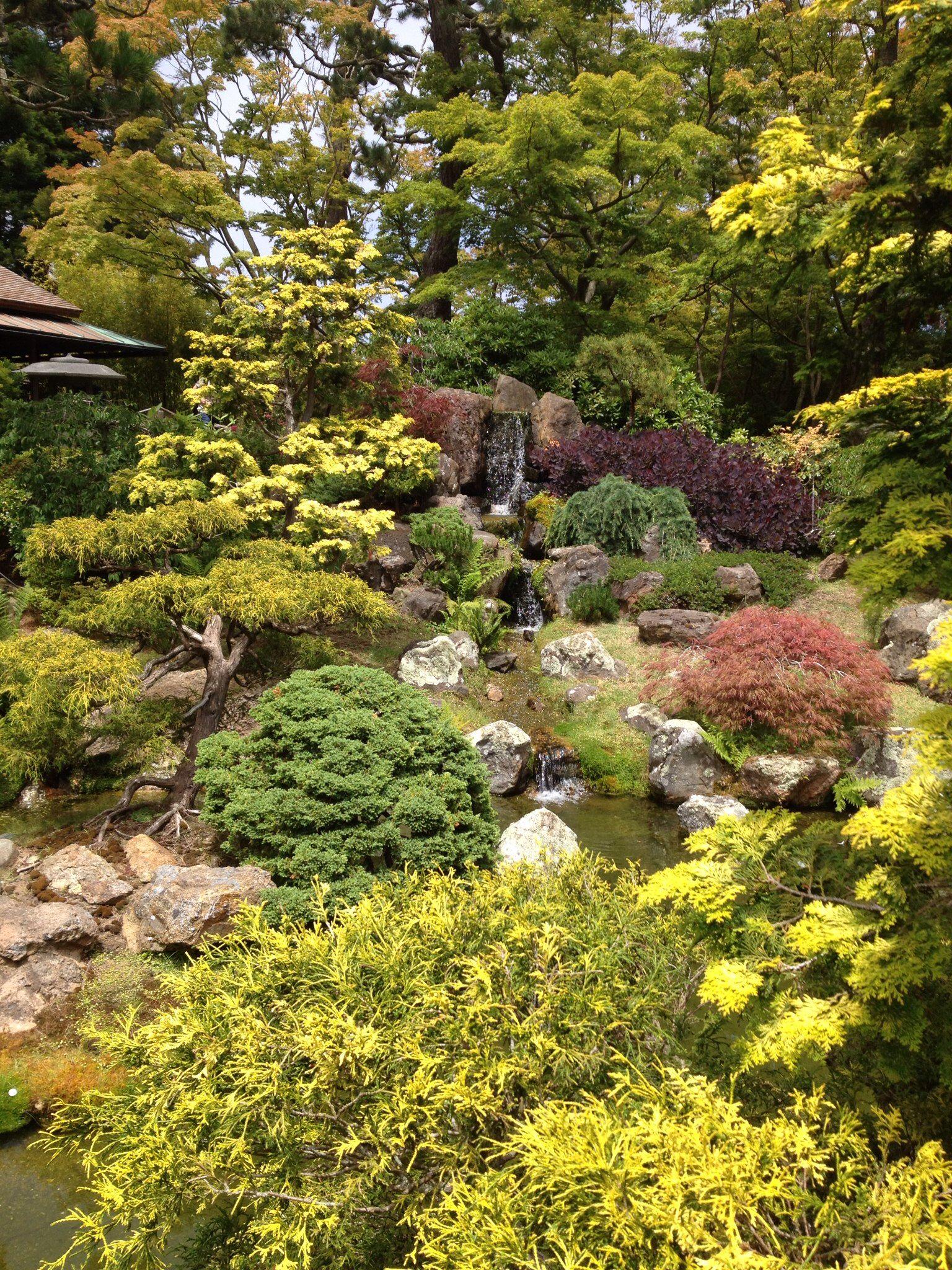 Water Fall Japanese Tea Garden Botanical gardens, Water