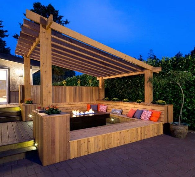 Pergola bench seat designs bench seat pergolas and for Built in gazebo
