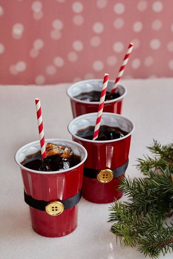 Bored With Using Plain Red Cups At Your Holiday Party Use Black Ribbon And A Gold On To Turn Into Santa Then Fill This Diy Christmas Project