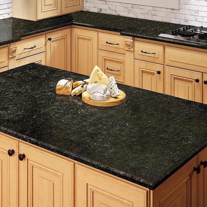 Allen Roth Emerald Ridge Granite Black Kitchen Countertop Sample Lowes Com In 2021 Kitchen Countertops Green Granite Countertops Black Granite Countertops