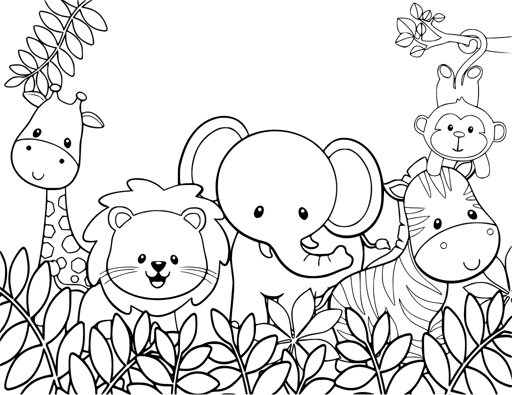 Cute Animal Coloring Pages Jungle coloring pages, Zoo