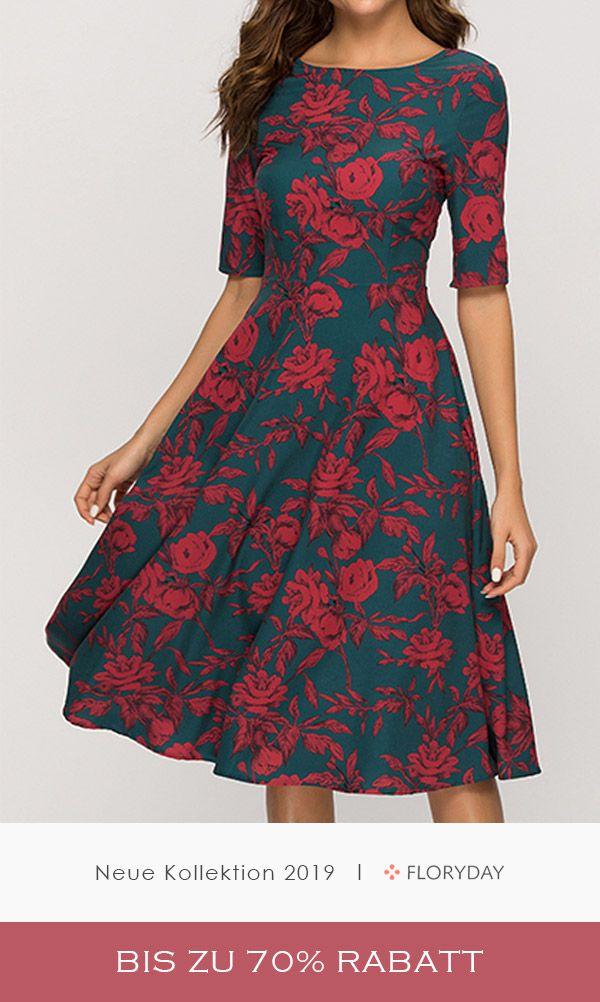 Knielanges Kleid mit Blumenmuster und Rundhalsausschnitt #latestfashionforwomen