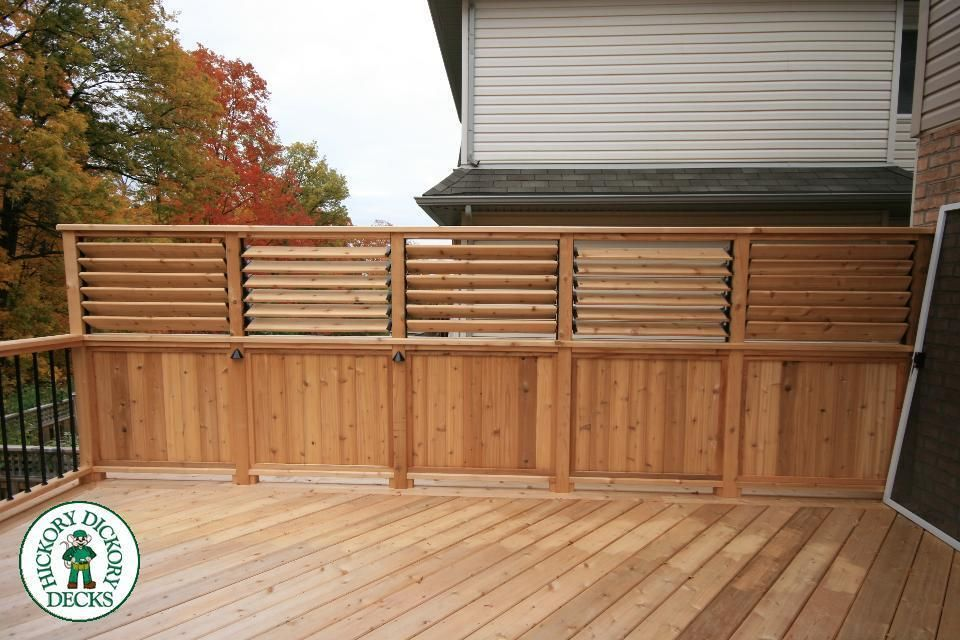 Here is a cedar privacy fence with 3 feet of 1x6 cedar for Screen walls for deck