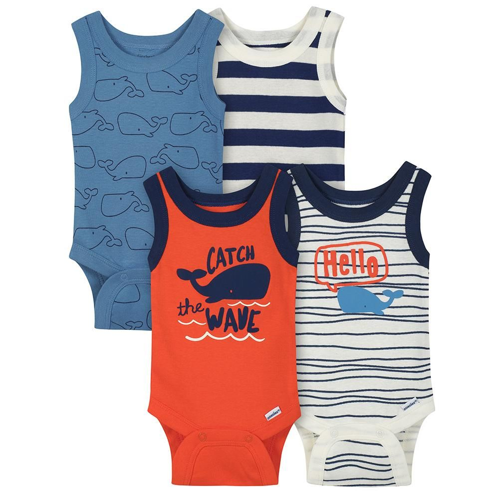 959abc61f 4-Pack Boys Whale Sleeveless Onesies® Bodysuits | Onesies® Brand ...