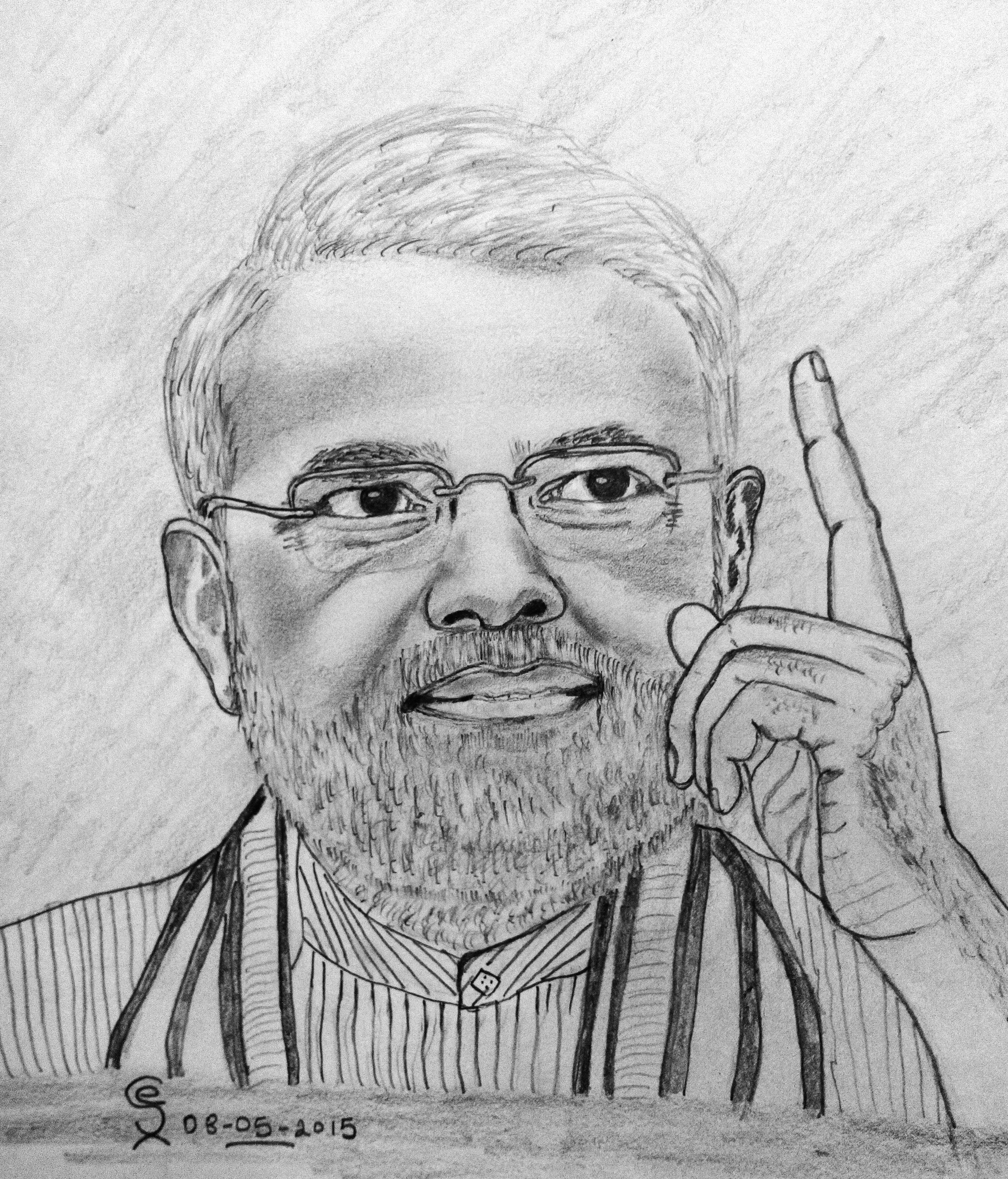 Prime minister of india mr narendra modi pencil drawing pencil