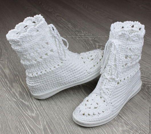 Обувь ручной работы. Сапожки хлопковые | Crochet | Pinterest ...