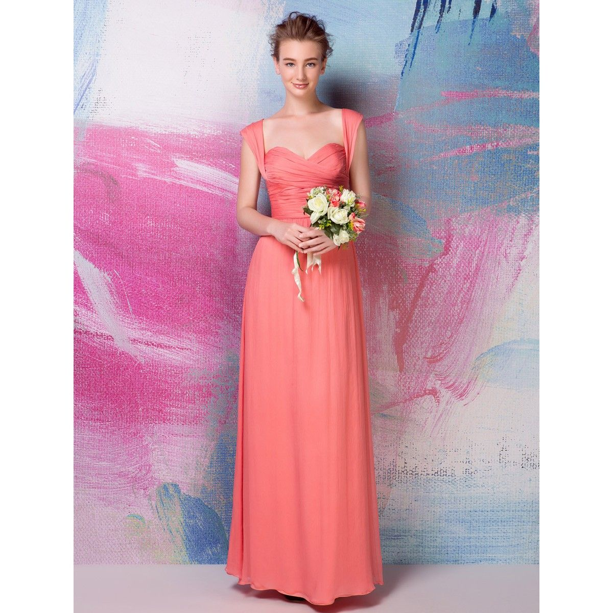 V-neck Lace Bodice Long Blush Cap Sleeves Bridesmaid Dress | Hair ...