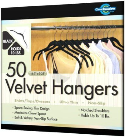 Amazon.com: Closet Complete Ultra Thin No Slip Velvet Hangers For Shirts  And Dresses