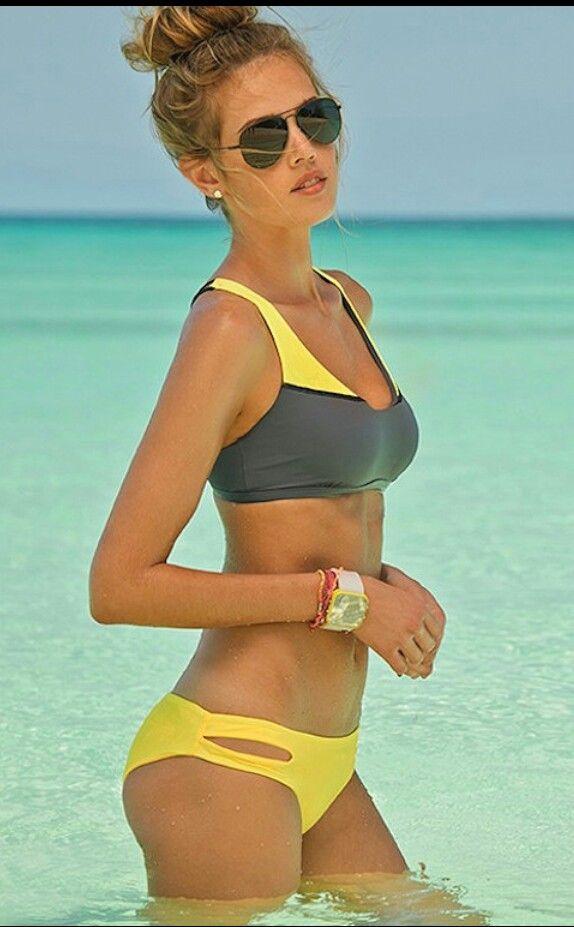 Yellow and grey athletic bikini (Savasana and Estella from L*Space)