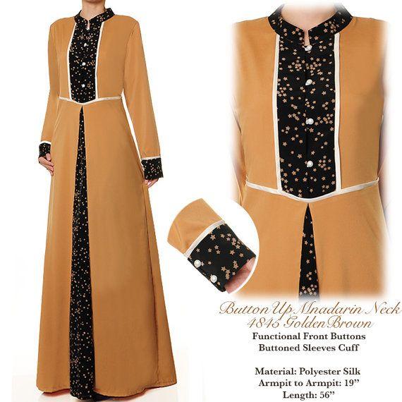 Golden Brown Mandarin Neck Islamic Summer Abaya Long by MissMode21
