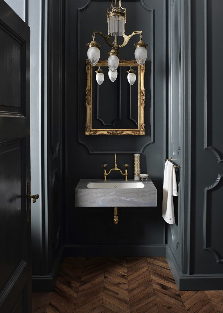 Design Handwaschbecken Badezimmer Barock Stil Modern Grau Gold Badezimmer Bathroom Ideas Badgestaltung Dunkle Innenraume Fischgratenboden