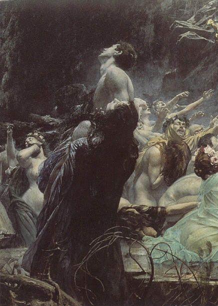 A fairy of the norwegian woods - Adolf Hirémy-Hirschl, The Souls of Acheron (1898)