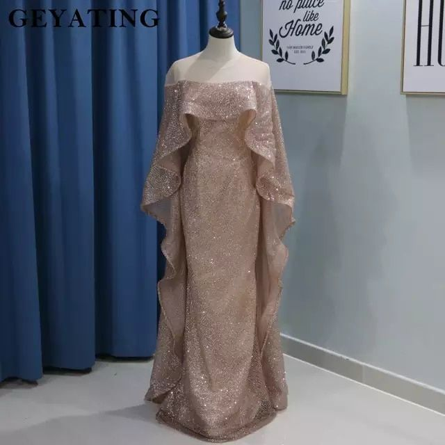 3db79ecbe99 Rose Gold Mermaid Saudi Arabia Muslim Evening Dress with Cape Yousef  Aljasmi Glitter Sequin Dubai Prom Formal Dresses 2018 Shiny