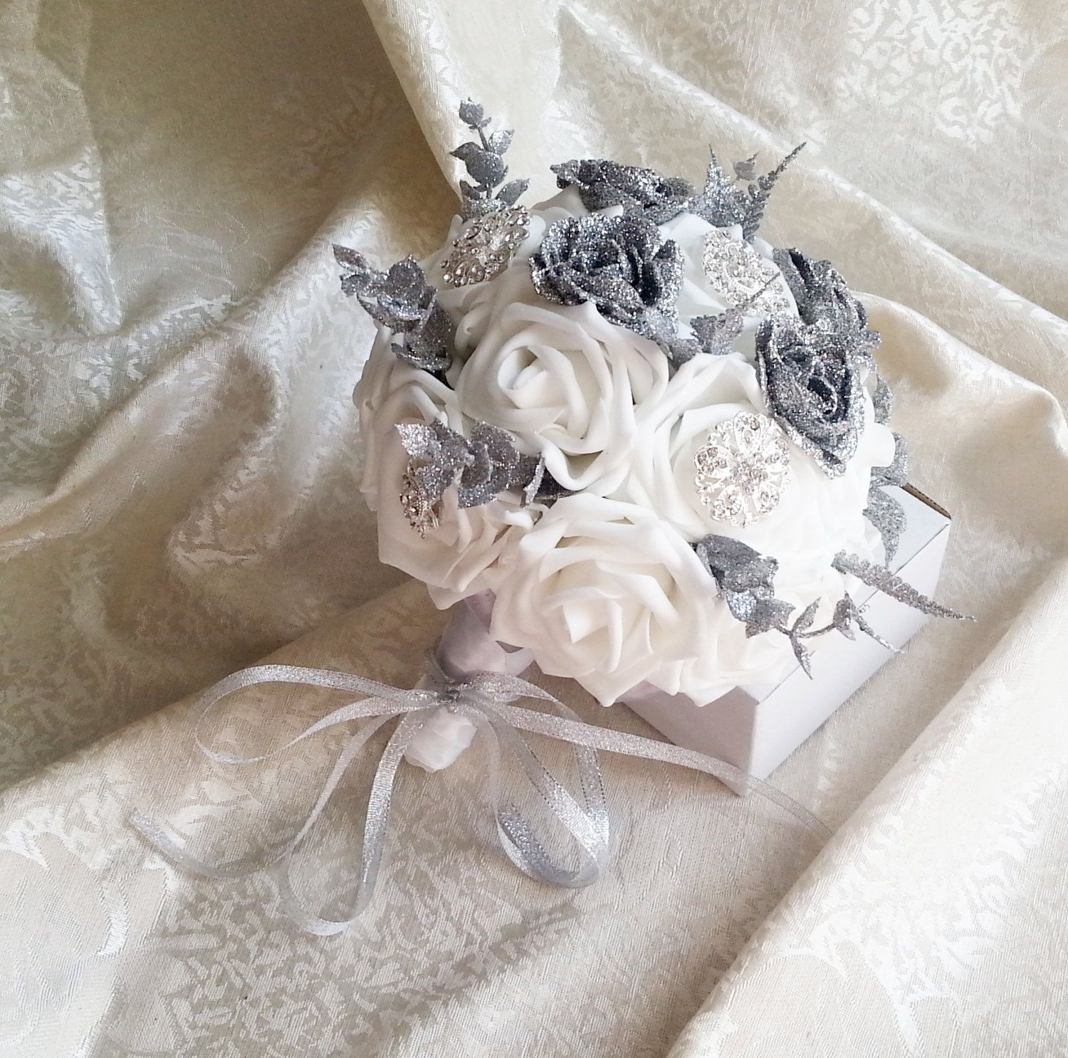 Ready to ship white foam roses sparkle glitter brooches silver white foam roses sparkle glitter brooches silver flowers wedding bouquet satin handle custom pinned mightylinksfo Images