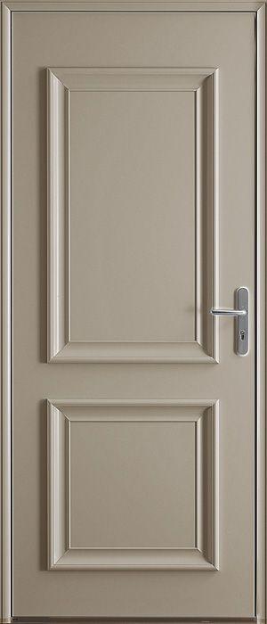 Porte d 39 entr e en luminium no de couleur gris perle sabl portes porte entr e aluminium - Porte appartement bois ...