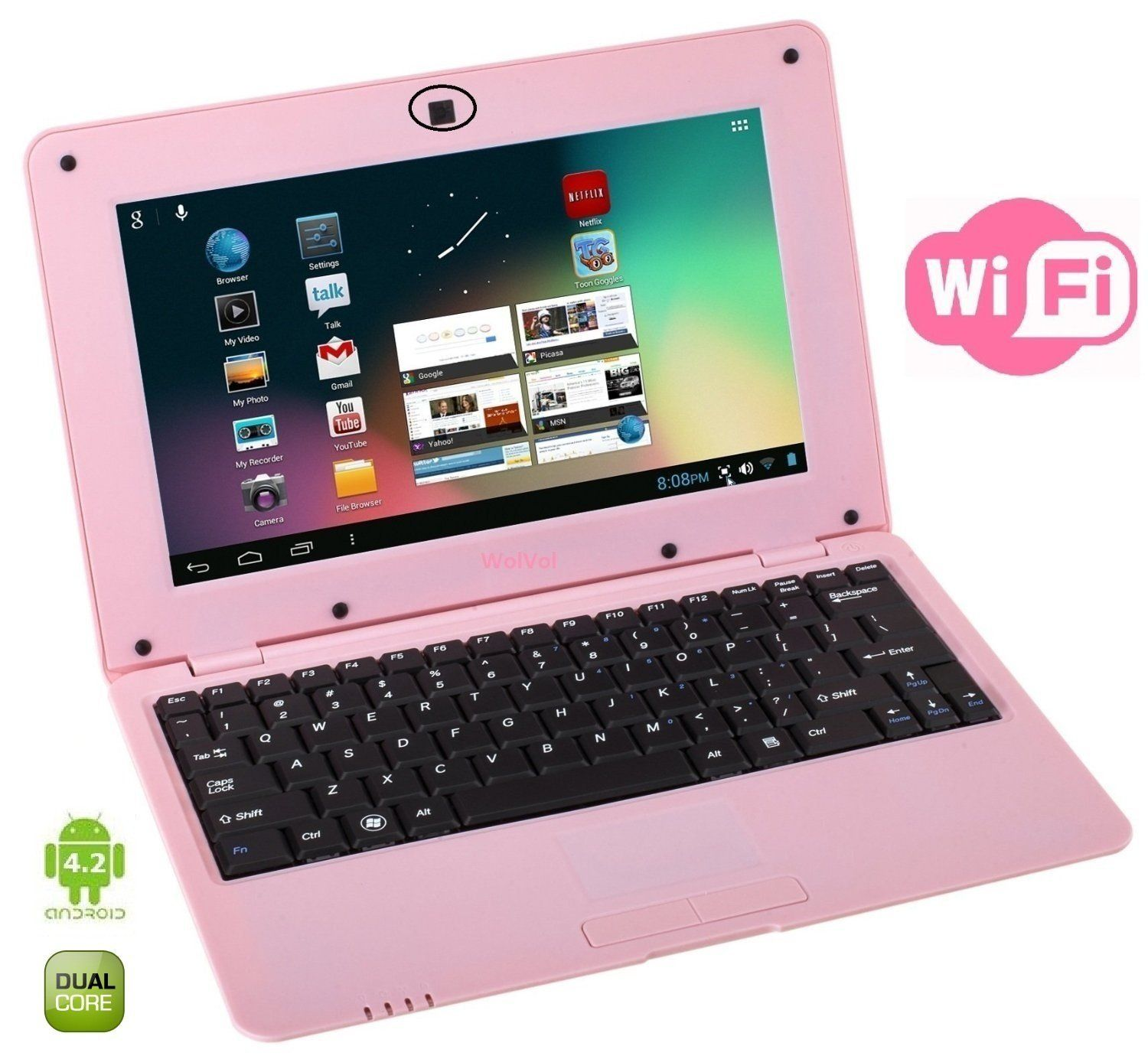 This WolVol 10 inch mini pink laptop includes the newest upgrade