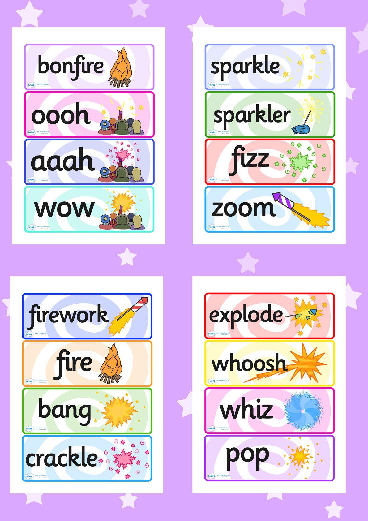Bonfire Night Fireworks Word Cards