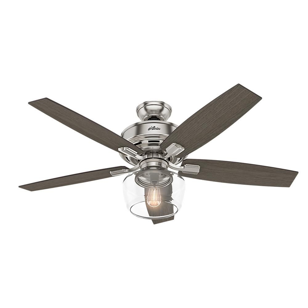 Hunter Bennett 52 In Led Indoor Brushed Nickel Ceiling Fan With Globe Light Kit And Handheld Remote Control