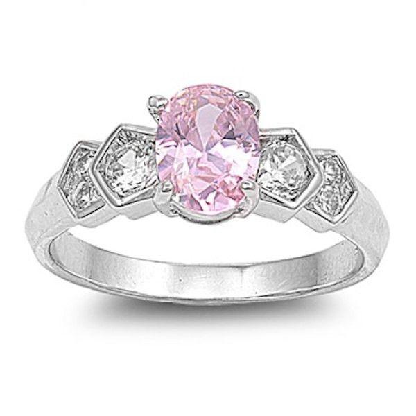 1.00 Carat Oval Cut Rose Pink Swarovski Crystal White Round Topaz Platinum over 925 Sterling Silver Wedding Engagement Anniversary Ring