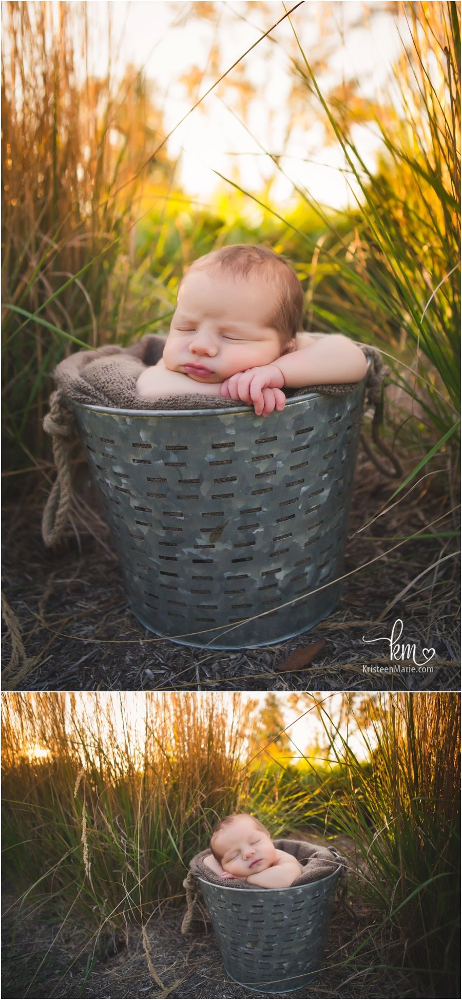 Newborn baby in a bucket at sunset outdoor newborn pictures outdoor newborn photography