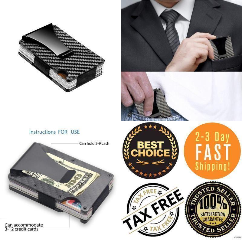 9a56d378105 Slim Carbon Fiber Credit Card Holder RFID Blocking Metal Money Clip Wallet  Gift  fashion  clothing  shoes  accessories  mensaccessories  wallets (ebay  link)