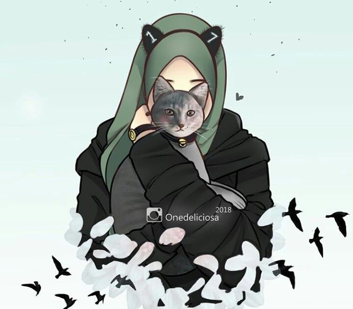 Pin oleh menna omar di anime girl di 2019 hijab drawing - Gambar anime girl cute ...
