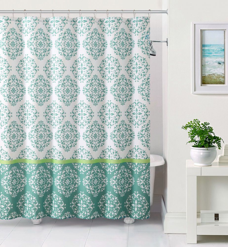 Details About White And Blue Embossed Fabric Shower Curtain
